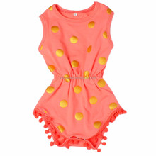New style Autumn Gold dot fashion baby rompers oem kids clothing kids clothes cotton pattern with factory price