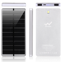 PowerGreen Ultra Slim Power Bank 10000mAh Solar Panel Power Inverter with Battery Charger