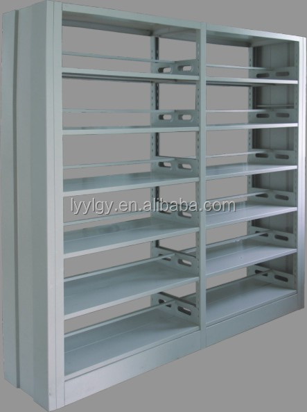 Iron stainless steel bookrack/Wooden side protect Double face bookcase for library BS-04-2