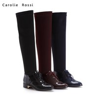 Woman lace boots very long latex thigh high elastic band boots