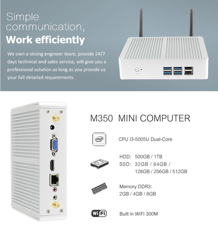 Low power desktop fanless computer i3 mini pc windows 10