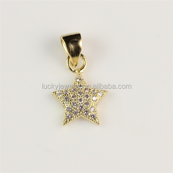 Men and Women Jewelry Micro Pave Pentagram Star Shape Pendant Gold Plated for Wholesale