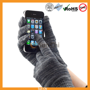 2017 winter black whole touch customized design touch gloves for iphone