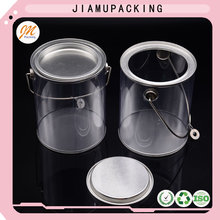 Transparent tin lid plastic round box with handle