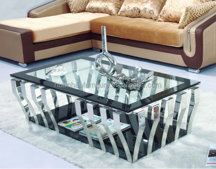 CT091 Luxury living room furniture foshan china modern glass silver center coffee table