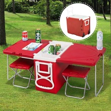 SuperSeptember Function Rolling Cooler Cart Cooler Box Picnic Camping Outdoor with Table and Chairs