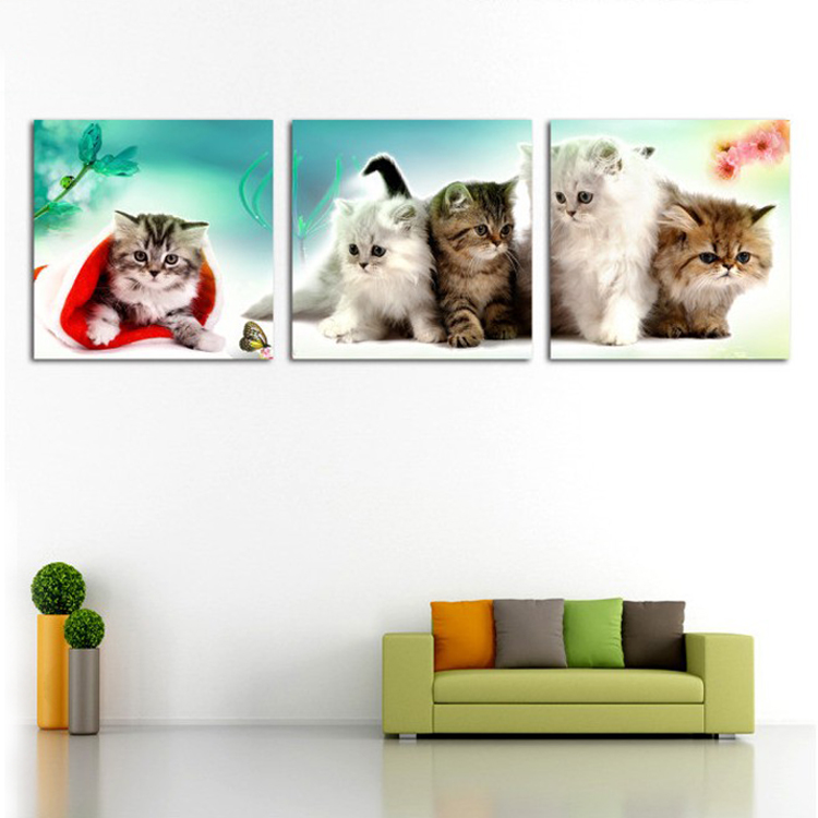 Large Wall Pictures For Living Room Decoration Art 3 Pieces Modern Decorative Picture Animal Oil Painting On Canvas