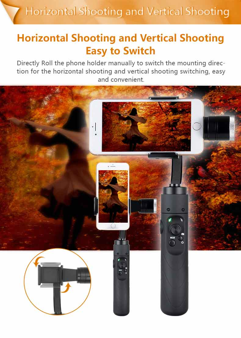 AFi 3axis Brushless Handheld Gimbal Stabilizer with Vertical Shooting Function for 3.5 to 6.1 inch Smartphone
