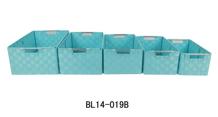 Rectangular rayon braided strap woven storage basket /bin sets/6
