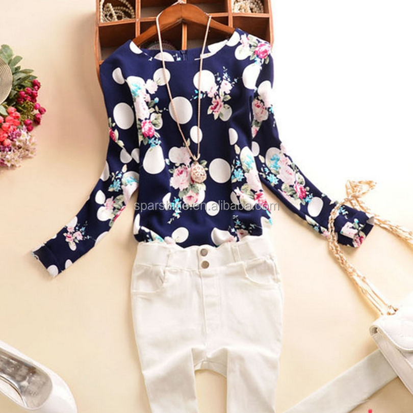 Long Sleeve Hot Sale Western Style Latest Fashion Floral Print Women Chiffon Shirts Ladies Blouse&Tops Casual Shirts