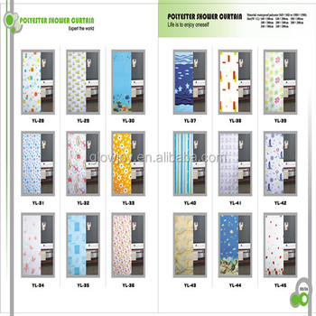high quality 96 inch shower curtain waterproof 100% polyester hookless shower curtain
