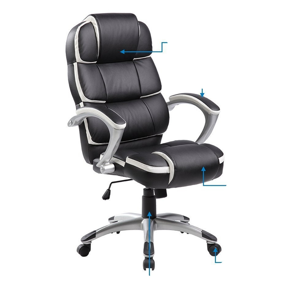 High Back Ergonomic Office Chair Pu Leather Computer Gaming Chair Manager's Chair with Padded Arms