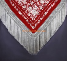 red with golden Manton de Manila spanish flamenco shawls 100% hand made pure silk