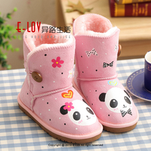 NO.UK002F kids OEM ODM Low Price Leather Hand-Painted Cheap Kids Winter Boots