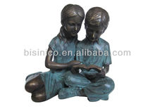 Bronze Reading Boy & Girl Shelf Sitter Statue Verdi Green,Sculpture en Bronze