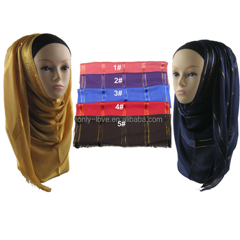 Wholesale viscose Satin Gold Border muslim Scarf Scarves islamic Hijab QK011