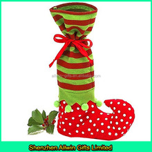 New arrival Dot Striped Boot Shaped Elf Christmas decoration wine gift bags