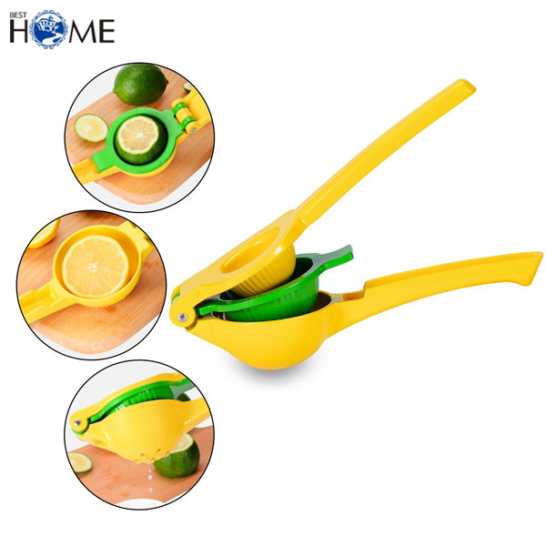 FDA Approval 2 In 1 Aluminum Lime Lemon Manual Juicer with 2 Bowls
