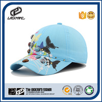 2016 hot sale girl's light blue summer baseball caps with button