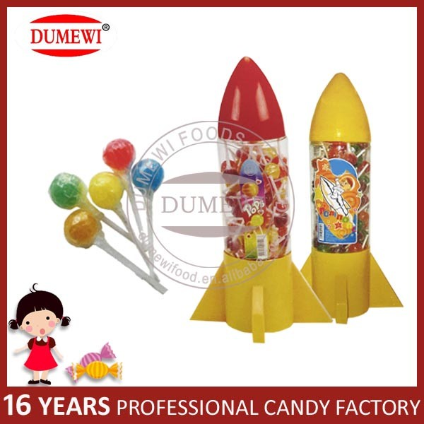 HALAL Fruit Flavor Hard Lollipop Candy in Rocket Shape Jar