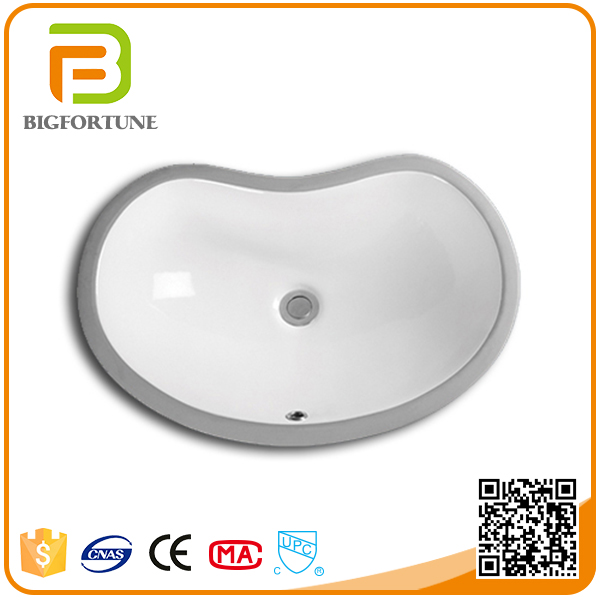 Ceramic undermount bathroom under counder sinks with overflow
