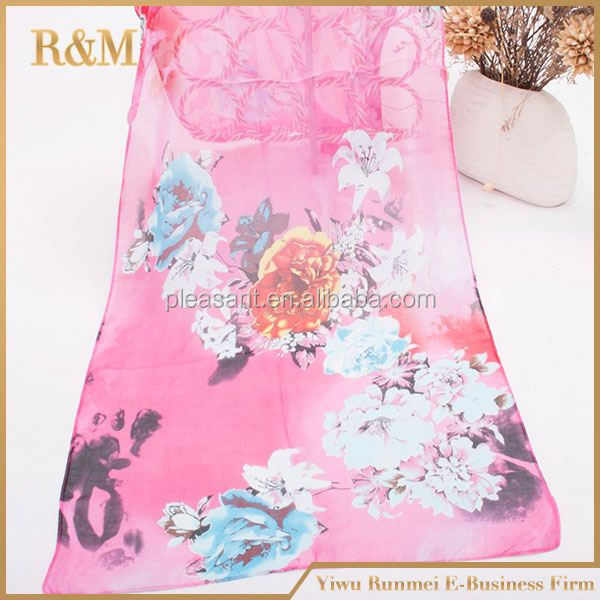 2016 cheap fashion women long silk chiffon wrap ladies digital printed scarf