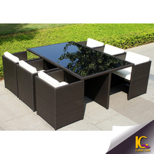New product blown rattan hideaway set malaysia dining set
