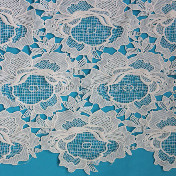 White Embroidered Guipure Chemical Lace/Water Soluble Lace/Water Dissolving Lace
