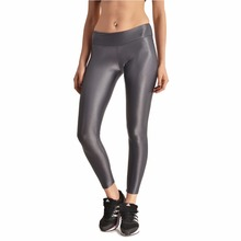 Moshiner Leggings Polyester Spandex Seamless Gloss Pants High Waisted Women's Faux Leather Stretch Skinny Pants Leggings