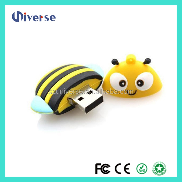 Shenzhen buy cheap usb sticks cute pvc bee shape flash drive usb 3.0 wedding gift usb pen drive