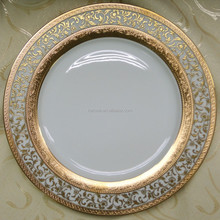 Embossed gold dinner set of both porcelain and bone china in luxury style