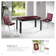 4 feet glass top dining table with leather chairs factory sell directly YY8