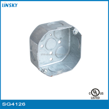 "1-1/2"" deep ul listed octagon junction box octagon galvanized steel electrical junction box knockout metal octagon junction box"