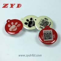 Cheap 13.56mhz NFC ntag216 with qr code for pets