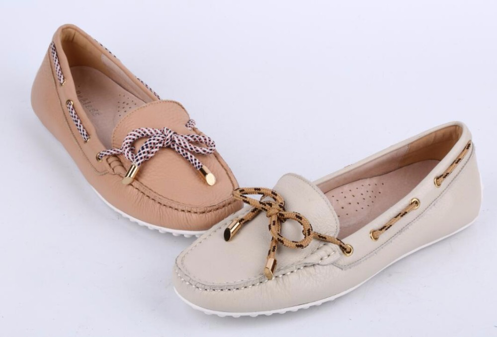 Wholesale 2016 Italian style ladies lychee leather soft casual moccasin boat loafer shoes