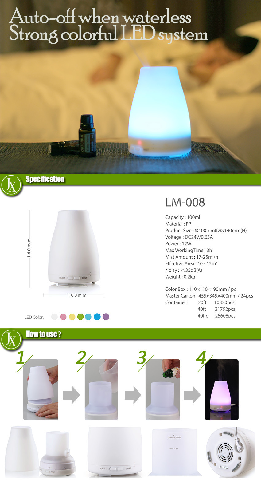 Electric ultrasonic aromatherapy essential oil diffuser