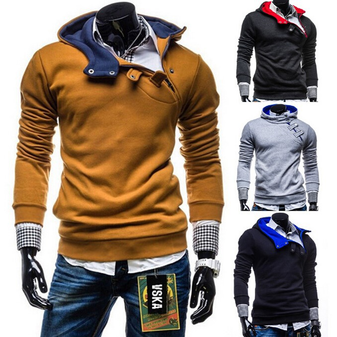 2015 New Zipper Hoodie slim fleece men's hooded coat 4 colors