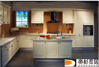 Fashionable Design Contemporary solid wood Kitchen Cabinet, Made in Foshan