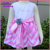 Wholesale sleeveless cotton dresses princess party chevron skirt dress for baby girl