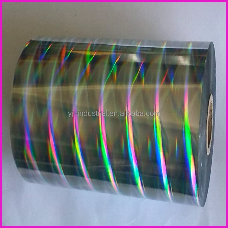 PET holographic roll film for lamination and packing