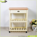 Solid rubber wood kitchen furniture wine display cabinet with wheels