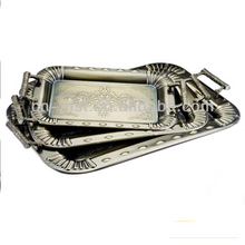 Wholesale stainless steel serving tray with metal handles