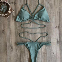 Online shopping 2017 New designs bandage thong bottom Braided lace-up with pad open crotch bikini