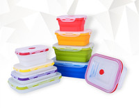 Silicone Collapsible Food Storage Containers - Folding Food Storage 4 Different Sizes Lunch box