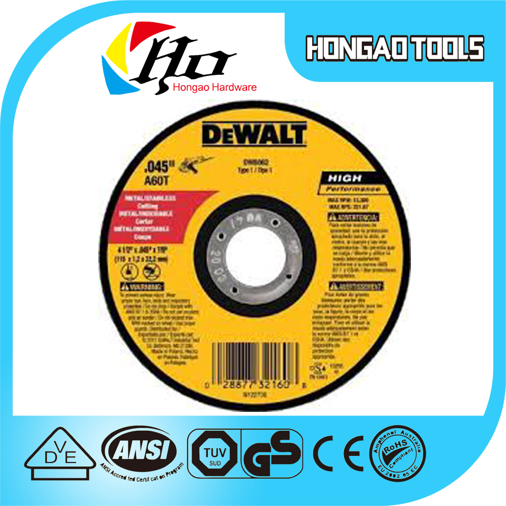 Dewalt, abrasive stone resin cutting disc of nice quality with super sharpness and safety