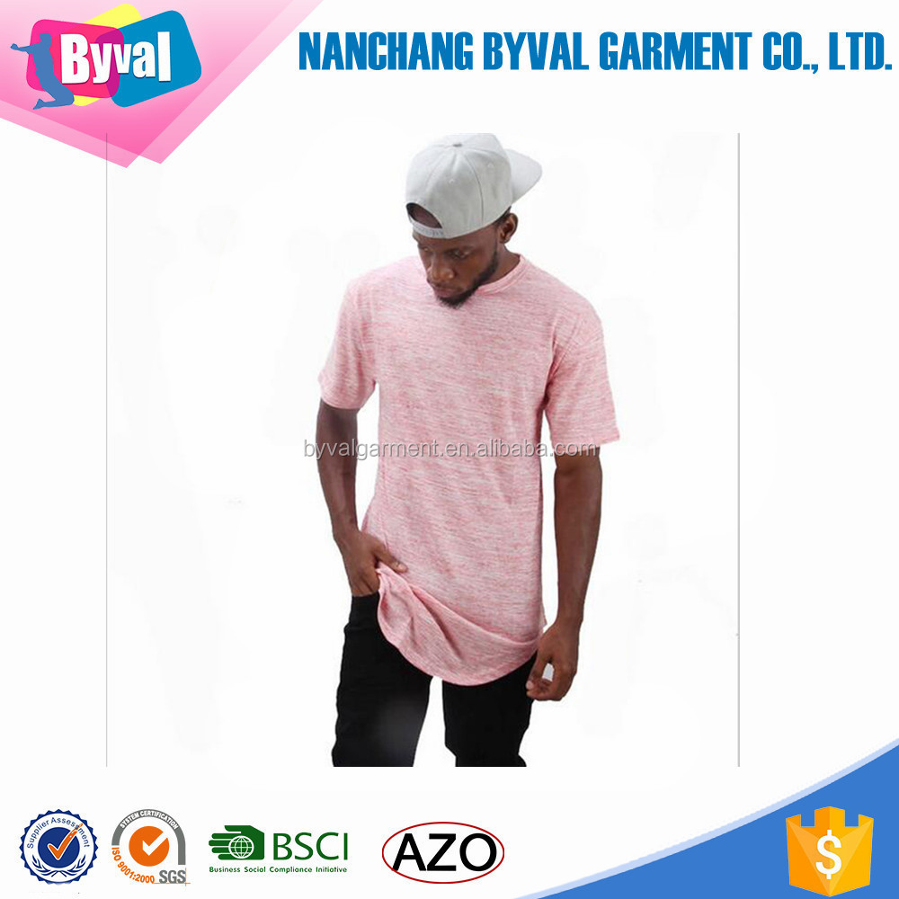 Wholesale custom design t shirt polyester/cotton dry fit men longline t shirt
