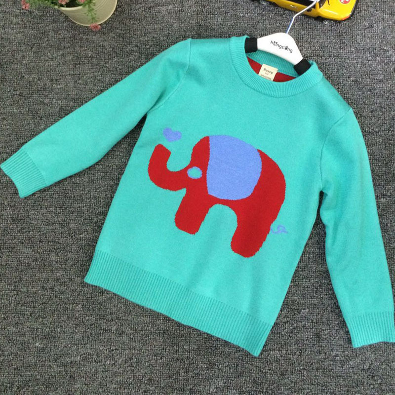ZH0283C 100% cotton knitted sweater cartoon elephant design for kids hand knit boy sweater