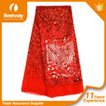 2017 African Red Bridal Net Lace African Sequence Lace Fabric