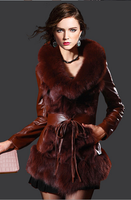 Grace Styles Wine Red Fox Fur Trim Sheepskin And Fur Garment Sheep Skin Curly Fur Coat With Fox Fur Cuff Ladies Luxury Fur Dress