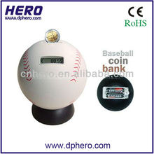 Digital baseball shape coin bank with coin counter